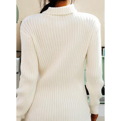 Solid Ribbed Turtleneck Long Tight Sweater Dress