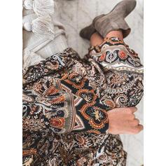 Imprimée Manches Longues Droite Tunique Décontractée/Bohème Midi Robes