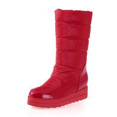 Femmes Cuir verni Tissu Talon compensé Bout fermé Bottes Bottes mi-mollets chaussures