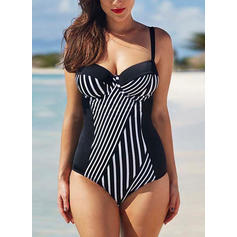 Stripe Strap Fashionable Plus Size One-piece Swimsuits