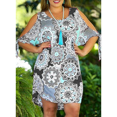 Print/Floral 1/2 Sleeves/Cold Shoulder Sleeve Shift Above Knee Casual/Boho/Vacation Dresses