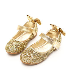 Girl's Sparkling Glitter Flat Heel Round Toe Closed Toe Flower Girl Shoes With Bowknot Sparkling Glitter Velcro