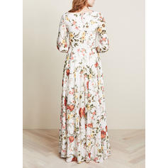 Print/Floral 3/4 Sleeves A-line Maxi Casual Dresses