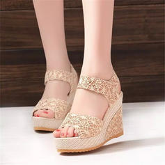 Women's Fabric Wedge Heel Sandals Wedges Peep Toe Slingbacks With Others shoes