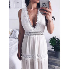Lace/Solid Sleeveless A-line Sexy/Casual/Vacation Midi Dresses