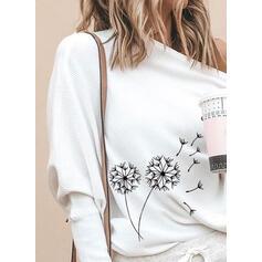 Print One-shoulder Lange ærmer Casual Strikning Skjorter