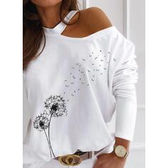 Print Dandelion One-Shoulder Long Sleeves Casual Blouses
