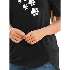 Tisk Kulatý Výstřih Krátké rukávy Neformální kötött tričko