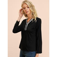 Solid Sequins V-Neck Long Sleeves Casual Elegant Blouses