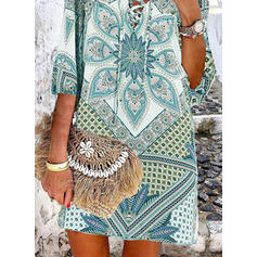 Print 1/2 Sleeves Shift Above Knee Casual/Boho/Vacation Tunic Dresses