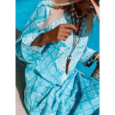 Imprimée Manches Longues Droite Décontractée/Vacances Maxi Robes