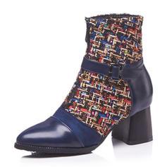 De mujer Cuero Tacón ancho Botas Botas al tobillo con Hebilla Material Block zapatos