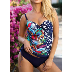 Floral Print Push Up Strap V-Neck Sexy Vintage Tankinis Swimsuits