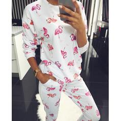 Round Neck Long Sleeves Print Casual Top & Pants Sets
