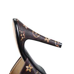 Femmes PU Talon stiletto Sandales Escarpins Chaussons avec Rivet chaussures