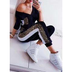 Print V-Neck 3/4 Sleeves Casual Jumpsuit