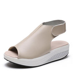 PU Flat Heel Sandals Flats With Velcro shoes
