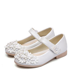 Girl's Leatherette Flat Heel Closed Toe Flats Flower Girl Shoes With Velcro Flower