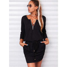 Solid 3/4 Sleeves Sheath Above Knee Casual Dresses