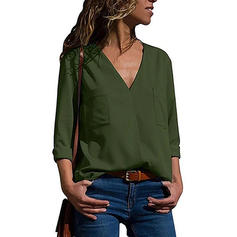Solid V-Neck Long Sleeves Casual Elegant Knit Blouses