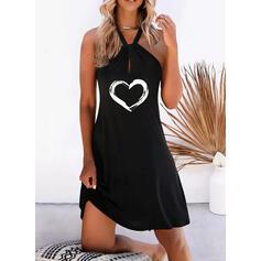 Print/Heart Sleeveless Shift Above Knee Casual/Vacation Dresses
