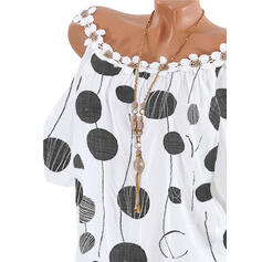 Print PolkaDot Cold Shoulder Short Sleeves Casual Blouses