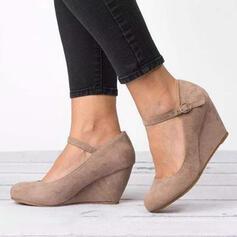 Mulheres Camurça Plataforma Bombas Calços com Fivela sapatos