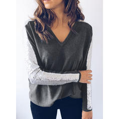 Color Block Sequins V-neck Long Sleeves Casual Knit Blouses