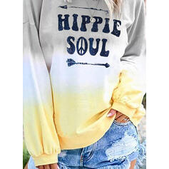 Print Tie Dye Figure Round Neck Long Sleeves Sweatshirt