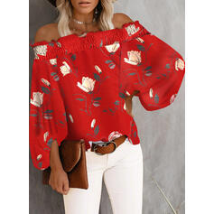 Tisk Květinový Odhalená ramena 3/4 rukávy raglan manece Casual Bluze