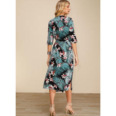Print/Floral 3/4 Sleeves A-line Casual/Elegant/Boho/Vacation Midi Dresses