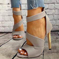 Dla kobiet PU Obcas Stiletto Sandały Czólenka Otwarty Nosek Buta Z Kokarda Sznurowanie Jednolity kolor obuwie
