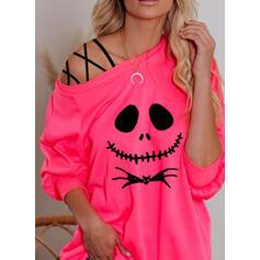 Dyr Halloween One Shoulder Lange ærmer Sweatshirts