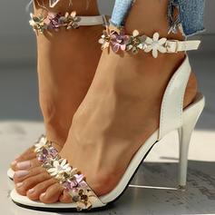 Vrouwen PU Stiletto Heel Sandalen Peep Toe met Gesp Bloem schoenen