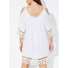 Lace/Solid 1/2 Sleeves/Cold Shoulder Sleeve Shift Above Knee Casual/Vacation Tunic Dresses