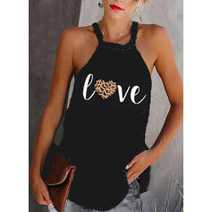 Print Leopard Heart Round Neck Sleeveless Casual Tank Tops