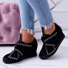 Femmes Suède Talon plat Chaussures plates avec Rivet chaussures