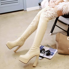 Femmes Similicuir Talon bottier Plateforme Bottes hautes chaussures