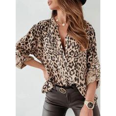 Leopard V-Ausschnitt Lange Ärmel Mit Knöpfen Freizeit Blusen