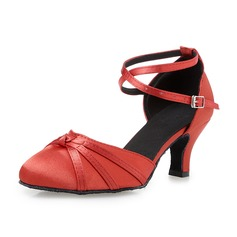 Women's Ballroom Heels Sandals Satin With Buckle Hollow-out Latin
