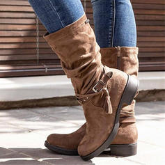Women's PU Chunky Heel Mid-Calf Boots With Zipper Tassel shoes