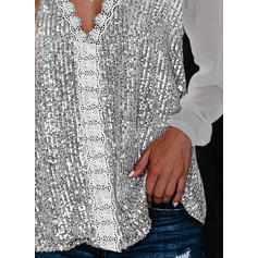 Solide Kant Pailletten V-hals Lange Mouwen Pailletten Overhemd