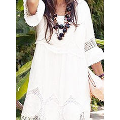 Lace/Solid 3/4 Sleeves Shift Above Knee Casual/Party Dresses