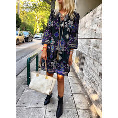Embroidery 3/4 Sleeves Shift Above Knee Casual/Boho/Vacation Tunic Dresses