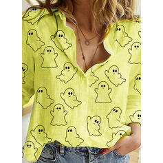 Распечатать отворот Длинные рукова Повседневная Хэллоуин Рубашка Блузки
