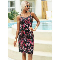 Print/Floral Sleeveless A-line Above Knee Casual Slip Dresses