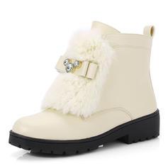 Femmes Similicuir Talon bas Bout fermé Bottes Bottines Bottes neige avec Strass Fausse Fourrure chaussures