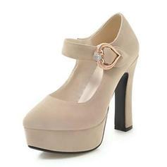Femmes Velours Talon bottier Escarpins Plateforme avec Boutons chaussures