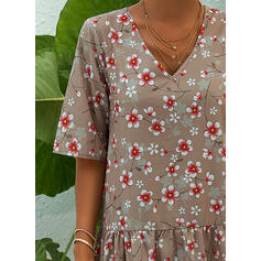 Print/Floral Short Sleeves Shift Tunic Casual/Vacation Midi Dresses