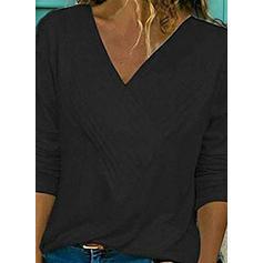 Solid V-hals Lange ermer Casual Strikking T-skjorter